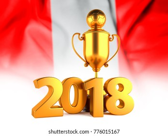 Soccer Winner Gold Trophy with 2018 text and Flag of Peru. 3D illustration