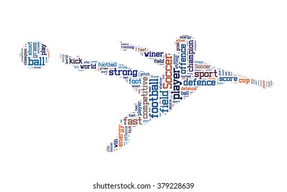 Soccer word cloud, Soccer typography background