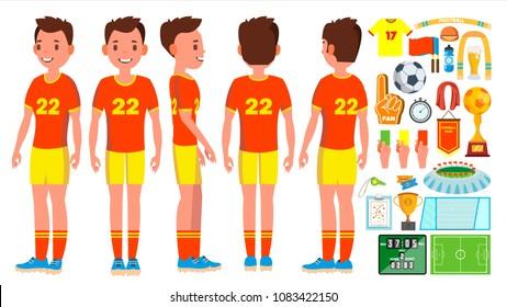 Soccer Young Man Player. Man. Modern Championship. Kick. Flat Athlete Cartoon Illustration
