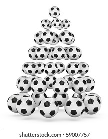 soccer/football themed christmas tree. 3D rendered illustration.