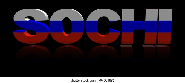 Sochi text with Russian flag reflected 3d illustration