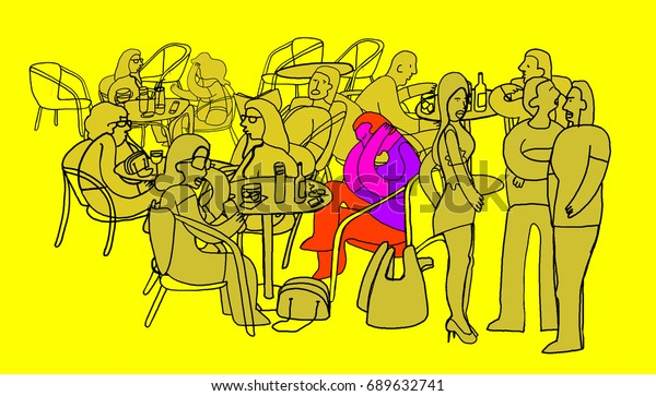 Social anxiety. Illustration. Colorful and beautiful illustration about social anxiety and social fear or phobia. Contrast color. Concept of psychology.