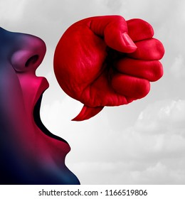 Social bullying and aggressive hurtful language as a bully talking with a speech bubble shaped as a fist as a symbol for debate or legal defense in a 3D illustration style.