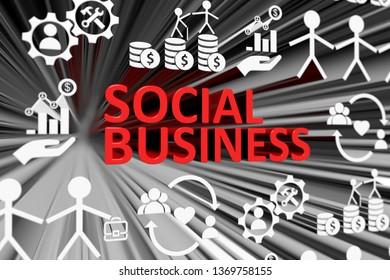 SOCIAL BUSINESS concept blurred background 3d render illustration