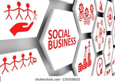 SOCIAL BUSINESS concept cell background 3d illustration