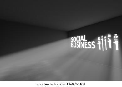 SOCIAL BUSINESS  rays volume light concept 3d illustration