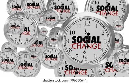 Social Change Clocks Ticking Time Passing 3d Illustration