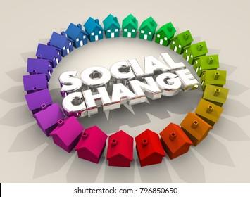 Social Change Houses Homes Community Society 3d Illustration