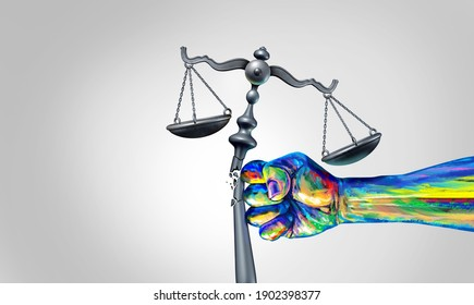 Social change law and society justice concept as a fist representing diversity and a diverse community fighting for changing legislation as a law scale for equality with 3D illustration elements.