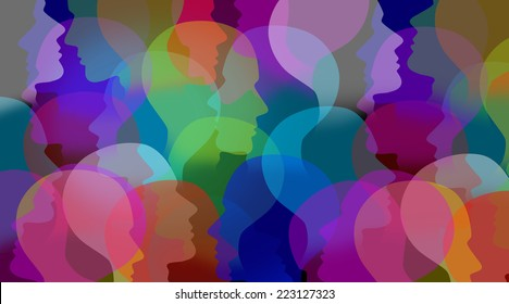 Social collaboration network and people communication as a connected group of people faces or human heads as a business and technology symbol linked in a global citizenship community partnership.