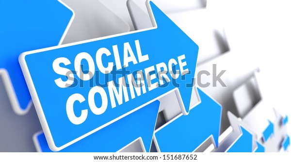 """Social Commerce - Business Concept.  Blue Arrow with """"Social Commerce"""" slogan on a grey background. 3D Render."""