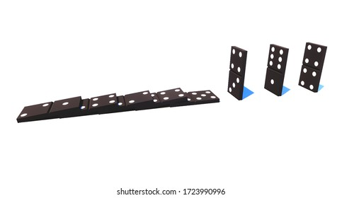 Social distance concept. Safe distance stopping the domino effect as a metaphor for prevents the from spreading by using social distancing to stop coronavirus (COVID-19) from spreading. 3d rendering.
