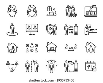 Social distance icons. Self quarantine, safe distancing and stay home line icon. Man and woman in mask. Coronavirus prevention  set