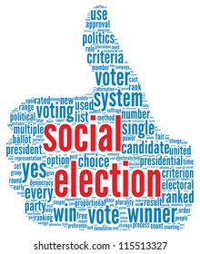 Social election concept in word tag cloud on white background