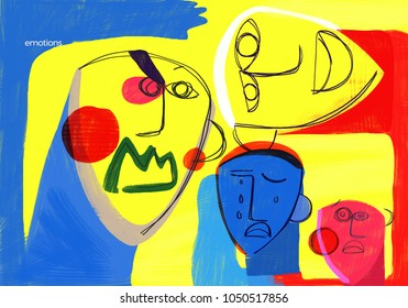 Social emotions. Expressive human faces show emotions in a colorful and abstract way. Conceptual illustration about emotional health. Psychology.