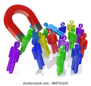 Social engineering concept: horseshoe magnet capturing crowd of color human figures isolated on white background in the design of the information related to the concept of attracting new people