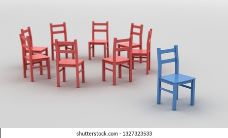 Social exclusion, bullying, depression, racism and loneliness concept 3d illustration. Red chairs in a circle with a blue chair set aside as a symbol of being different. Depth of field used.