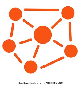 Social graph icon from Business Bicolor Set. This flat raster symbol uses orange color, rounded angles, and isolated on a white background.