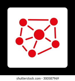 Social graph icon. This flat rounded square button uses red and white colors and isolated on a black background.