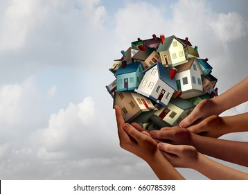Social housing concept and supportive home ownership symbol as a group of diverse hands holding many family homes as a metaphor for supporting neighborhood togetherness with 3D illustration elements.