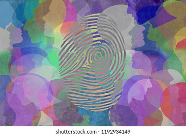 Social identity abstract diversity design as a fingerprint and population symbol for personal identification and security in a 3D illustration style.