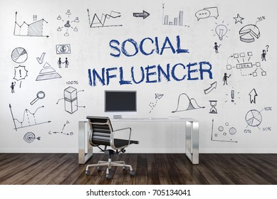 Social Influencer office concept with handwritten text on the wall surrounded by doodles of graphs, people and business icons with a modern perspex desk and chair in the foreground. 3d Rendering.