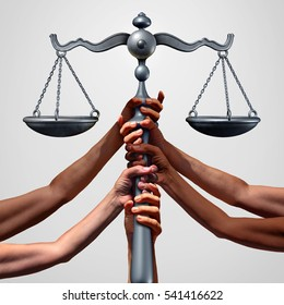 Social justice concept or class action lawsuit as a group of diverse ethnic people hands holding a court law scale as a global equity metaphor and equality in society with 3D illustration elements.