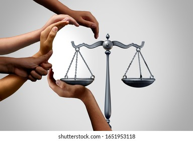Social justice and diversity equality law in society as diverse people holding the balance in a legal scale as a population legislation or pro bono and class action suit with 3D illustration elements.