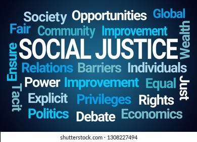 Social Justice Word Cloud on Blue Background