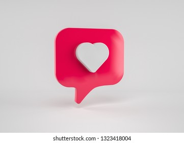Social media 3D like heart icon on red speech bubble shape. Social Media concept poster illustration