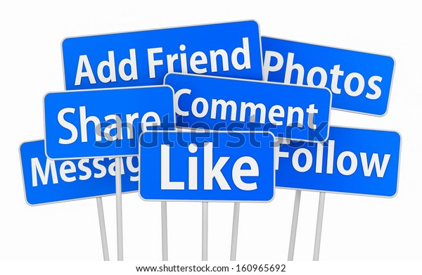 social media  3d symbol icon like share comment message