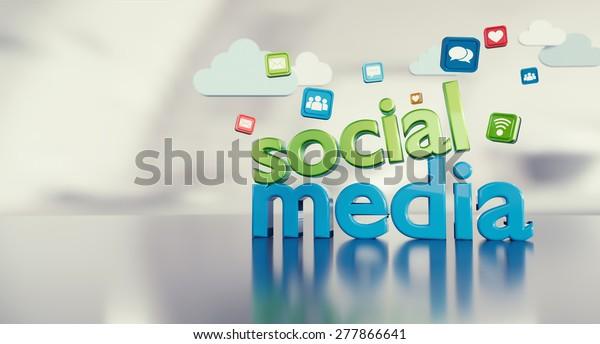 Sociale media 3D-tekst met pictogrammen die reflecteren op een glanzende vloer en ruimte aan de linkerkant.
