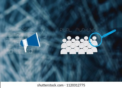 social media brand ambassadors conceptual illustration: influencer icon with posts and megaphone next real audience with magnifying glass on it