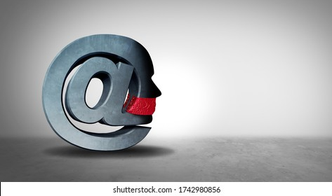 Social media censorship and electronic communication bias as a symbol for online censor or restricting free speech on the internet as a 3D illustration.