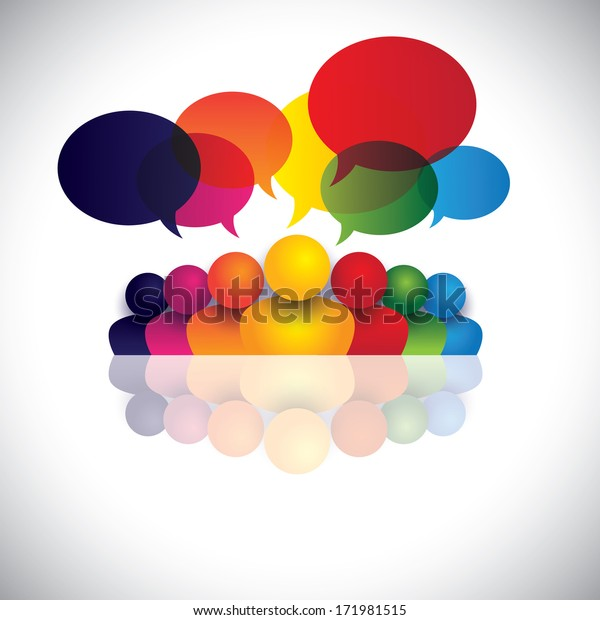 social media communication or office staff meeting or kids talking. The graphic also represents people conference, social media interaction & engagement, children talking, employee discussions