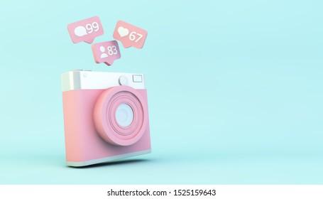 concepto de medios sociales: cámara con notificaciones 3d representación
