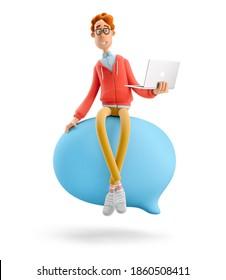 Konzept der sozialen Medien. Nerd Larry sitzt auf einem Spekulationsgespräch. 3D-Abbildung.