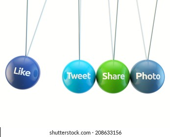 social media cradle - like, tweet, share, photo, friend isolated white backgorund with clipping path