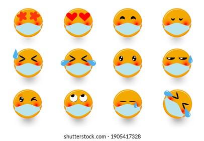 Social media emoticons wear masks set of funny emoticons design set on white background illustration.