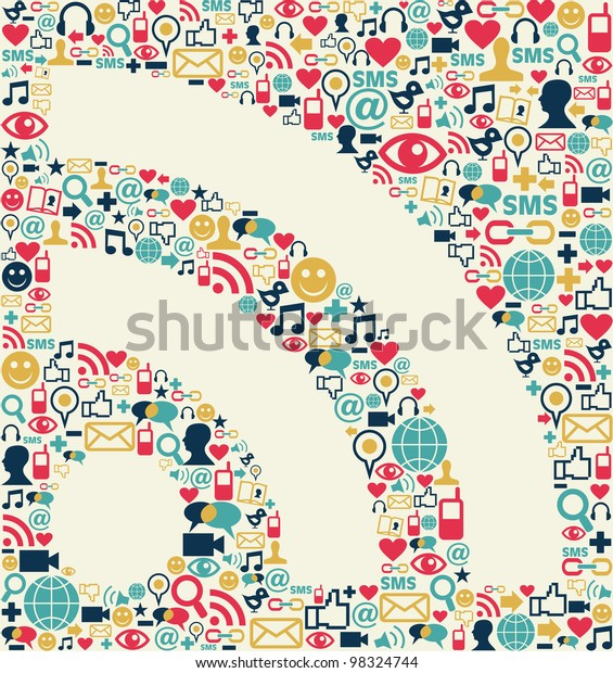 Social media icons texture with RSS shape composition background.