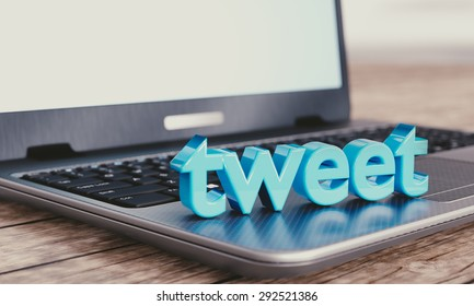 "Social media illustration concept: modern notebook with 3D ""tweet"" word."