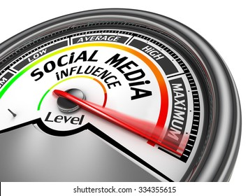 Social media influence level to maximum modern conceptual meter, isolated on white background