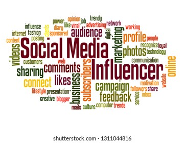 Social media influencer word cloud concept on white background.