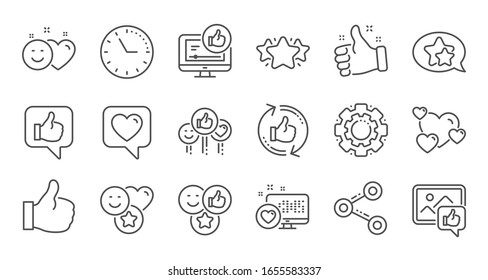 Social media line icons. Share network, Like thumbs up and Rating. Feedback smile linear icon set. Quality line set.