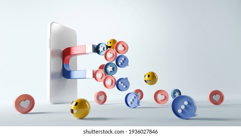 Social media marketing concept. Attracting (emoji, like, love, star, comment icon) with a huge magnet in smartphone, 3d render. copy space.