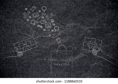 social media marketing conceptual illustration: influencer marketing shopping bag with PR gifts being handed and more presents flying above it