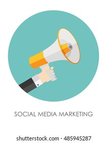 Social Media Marketing Icon. Hand with Megaphone  Illustration
