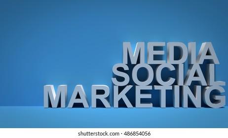 Social Media Marketing over Blue Background