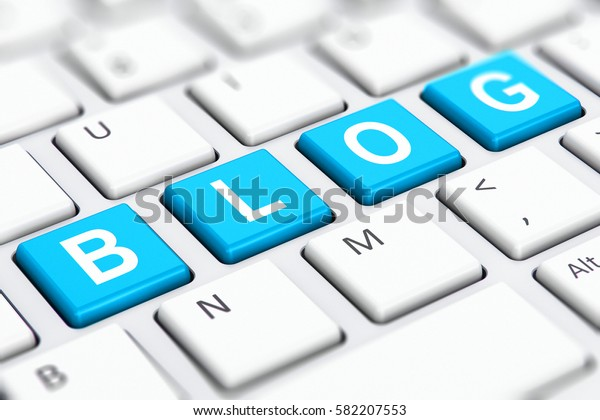 Social media network and internet web communication business concept: 3D render of blue color Blog text word on buttons of white computer PC or laptop notebook keyboard keys with selective focus
