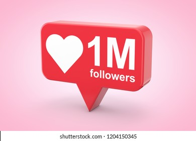 Social Media Network Love and Like Heart Icon with One Million Followers Sign on a pink background. 3d Rendering
